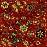 teste padrão sem emenda Vermelho-ouro-preto do vintage Foto de Stock Royalty Free