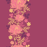 Teste padrão sem emenda vertical vermelho das flores e das folhas Foto de Stock Royalty Free