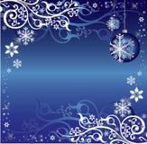 Teste padrão temático do fundo do Natal azul e branco Imagem de Stock Royalty Free