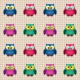 Teste padrão verific com corujas bonitos. Imagem de Stock Royalty Free