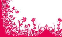 Teste padrão vermelho da flor e da grama Imagens de Stock