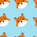 Teste senza cuciture del modello della volpe Illustrazione del modello senza cuciture con l'animale illustrazione di stock