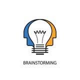 Teste umane ed icona della lampadina Logo creativo di mente Grou creativo illustrazione vettoriale