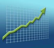 La freccia verde si dirige verso il successo immagine stock