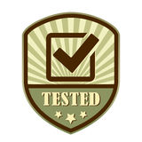 Tested and approved retro label. Tested and approved tick retro label Royalty Free Stock Image
