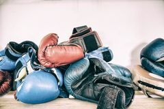 Tested time and training boxing gloves, boxing accessories, workout Royalty Free Stock Photography