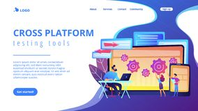 Cross platform bug founding concept landing page. Tester and developer work with laptop and tablet. Cross platform bug founding, bug identification and testing vector illustration