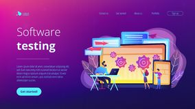 Cross platform bug founding concept landing page. stock illustration