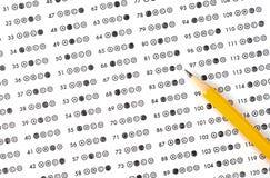 Testergebnisblatt mit Antworten Stockfoto