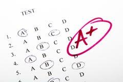 Testergebnisse in der Schule Stockbilder