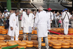 Testers at cheese market in Alkmaar, Holland Royalty Free Stock Photo