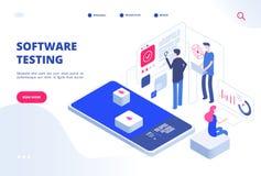Testes do software Serviço em linha do desenvolvimento do Web site do sistema de protótipo da fixação do erro da aplicação da ins ilustração do vetor