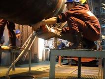 Testes dos raios X da junção soldada Radiografia da solda Preparação e conjunto do gasoduto subaquático para guardar os trabalhos vídeos de arquivo