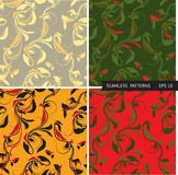 Testes padrões ajustados do vetor com ramos e folhas Fotografia de Stock Royalty Free