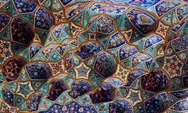 Testes padrões azuis da telha, mesquita de Shah fotos de stock royalty free