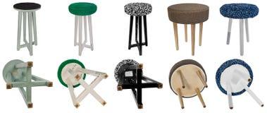 Testes padrões coloridos de madeira do tamborete feito a mão Assentos multicoloridos de Fotografia de Stock