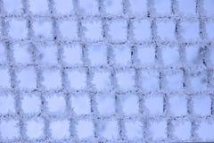 Testes padrões da geada natural e dos flocos de neve em uma grade do metal mim Fotos de Stock