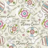 Testes padrões da Páscoa com ovos da páscoa, flores e pintainhos Fotos de Stock Royalty Free