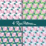 4 testes padrões das rosas Imagem de Stock