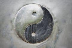 Testes padrões de aço de Yin Yang no fundo imagens de stock