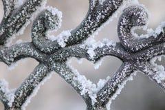 Testes padrões de congelação no metal Fotografia de Stock
