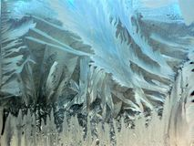 Testes padrões de Frost na janela do inverno Fotos de Stock Royalty Free