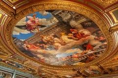 Testes padrões de moldação pintados da folha do teto e de ouro dos fresco no Venetian, Las Vegas Fotografia de Stock Royalty Free