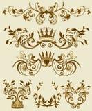 Testes padrões decorativos florais no estilete barroco e Imagem de Stock Royalty Free