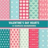 Testes padrões do coração do dia de Valentim Fotografia de Stock Royalty Free