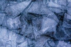 Testes padrões do gelo do Lago Baikal congelado Imagens de Stock