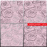 Testes padrões do vetor com rosas mão-esboçadas Fotos de Stock Royalty Free
