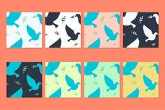 Testes padrões do vetor da pomba e da Olive Branch Fotografia de Stock Royalty Free