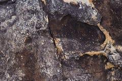 Testes padrões e texturas da rocha vulcânica velha na praia para fotografia de stock