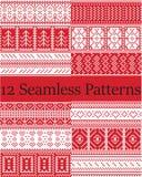 12 testes padrões escandinavos do vetor do estilo inspiraram pelo Natal norueguês, teste padrão sem emenda do inverno festivo no  ilustração royalty free