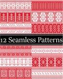 12 testes padrões escandinavos do vetor do estilo inspiraram pelo Natal norueguês, teste padrão sem emenda do inverno festivo no  ilustração stock