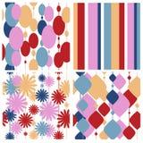 Testes padrões festivos sem emenda ajustados Fotos de Stock Royalty Free