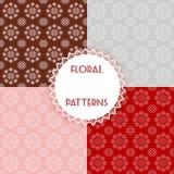 Testes padrões florais ajustados Fotografia de Stock Royalty Free