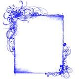 Testes padrões florais do frame azul Imagens de Stock Royalty Free