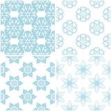 Testes padrões florais Grupo da luz - elementos azuis no branco Fundos sem emenda Imagens de Stock Royalty Free