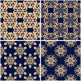 Testes padrões florais Grupo de fundos sem emenda azuis dourados Imagens de Stock