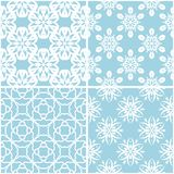 Testes padrões florais Grupo de fundos sem emenda azuis e brancos Foto de Stock