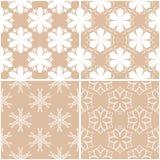 Testes padrões florais Grupo de fundos sem emenda bege e brancos Fotografia de Stock