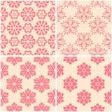 Testes padrões florais Grupo de fundos sem emenda bege e vermelhos Fotografia de Stock
