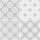 Testes padrões florais Grupo de fundos sem emenda cinzentos e brancos Imagens de Stock Royalty Free