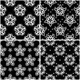 Testes padrões florais Grupo de fundos sem emenda preto e branco Fotos de Stock Royalty Free