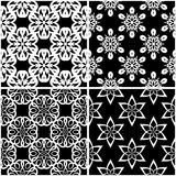 Testes padrões florais Grupo de fundos sem emenda preto e branco Foto de Stock