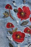 Testes padrões florais na sarja de Nimes Fotos de Stock