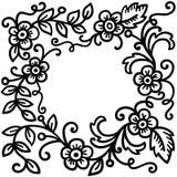 Testes padrões florais pretos Imagens de Stock Royalty Free