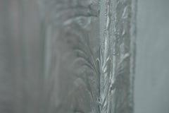 Testes padrões gelados no vidro Humor do Natal do inverno Textura, Imagem de Stock Royalty Free