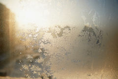 Testes padrões gelados no vidro Humor do Natal do inverno Textura, Foto de Stock